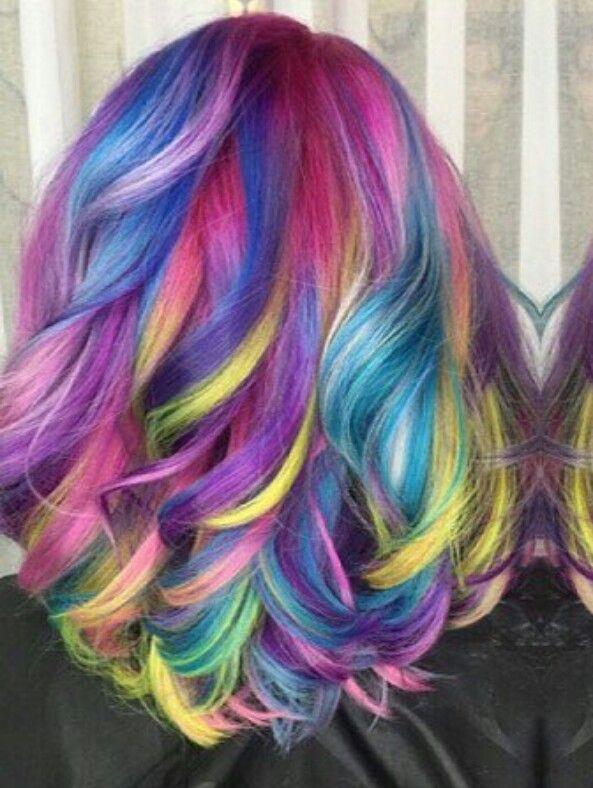 Purple neon streak rainbow dyed hair color @hrvahairartistry