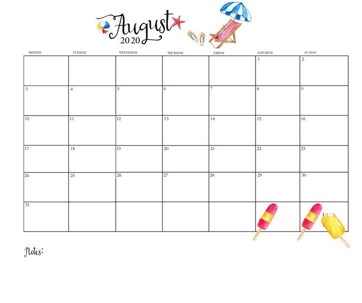 Print August 2020 Wall Calendar in 2020 | Wall calendar ...