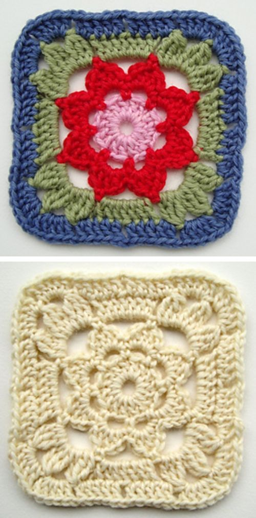 Granny Square With a Flower, free pattern by Jolanta Gustafsson  #crochet #motif