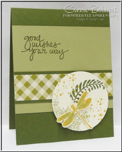 Awesomely Artistic half circle flip card, dragonfly, Stampin' Up!, #stampinup, Amazing Lovey You, created by Connie Babbert, www.inkspiredtreasures.com