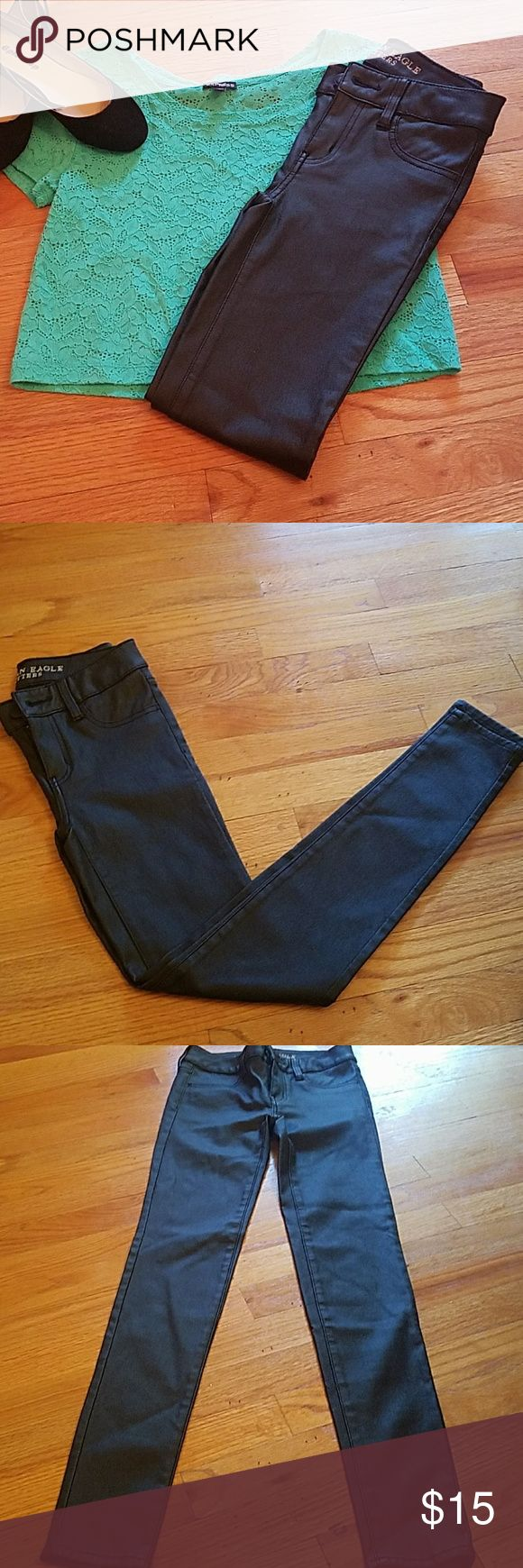 American Eagle Faux Leather Jeggings size 0 A new pair of American Eagle faux leather jeggings. Has no damage and leather is in perfect condition. Great for back to school. American Eagle Outfitters Pants Leggings