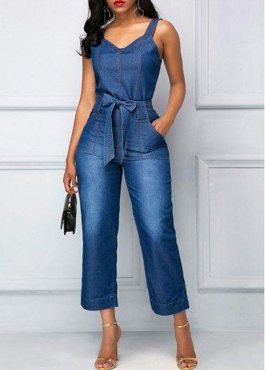 Pocket Wide Strap Belted Blue Jumpsuit  on sale only US$32.06 now, buy cheap Pocket Wide Strap Belted Blue Jumpsuit  at liligal.com