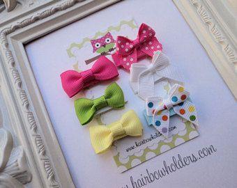 ARCO de pelo infantil - Set de 6 - Velcro colores tradicionales Mini pelo de arcos - arcos de pelo lindo para el recién nacido bebé bebé cabello fino