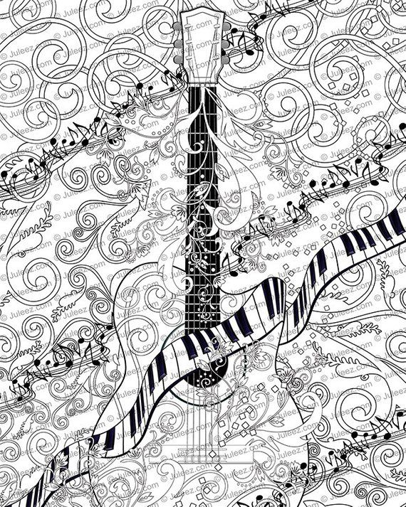 Coloring Poster Printable Guitar Coloring Poster Instant Download
