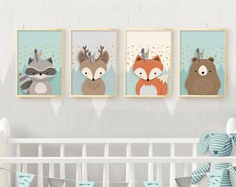 Woodland nursery, Nursery wall art, Nursery set, Nursery set of 4 print, Nursery Print, 4 giclee nursery, Forest friends, Nursery Giclee set