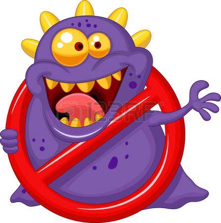 вирус: Мультфильм Стоп вирус - фиолетовый вирус в красный знак оповещения