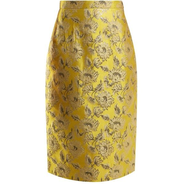 Prada Floral-brocade pencil skirt ($1,105) ❤ liked on Polyvore featuring skirts, yellow, floral pencil skirt, vintage skirts, brown skirt, knee length pencil skirts and high-waisted pencil skirts