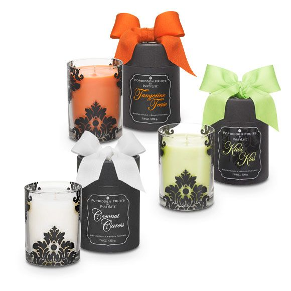 """Wonderful gift idea for only $25.00! Choose from 5 scents & colors. Sensual and sophisticated Coconut Caress fragrance fills our elegant damask patterned glass jar. Creamy, rich coconut touched with pineapple wraps you in the warmth of a tropical embrace. Ready for giving in a beribboned black box. Burn time: 45-55 hours. 3¾""""h.   $25.00 each."""