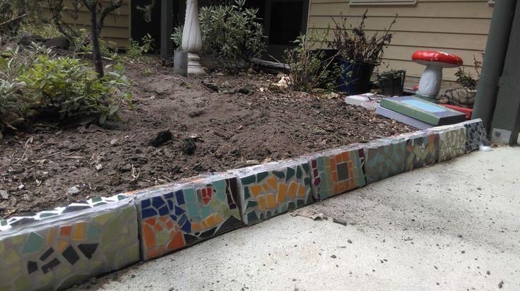 mosaics on bricks for the garden edges 2