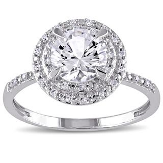 Marysol's kind of ring... it's pretty and it's cheap... = clever. Shop for Miadora 10k White Gold Created White Sapphire and 1/10ct TDW Diamond Double Halo Ring (G-H, I1-I2). Get free delivery at Overstock.com - Your Online Jewelry Destination! Get 5% in rewards with Club O!