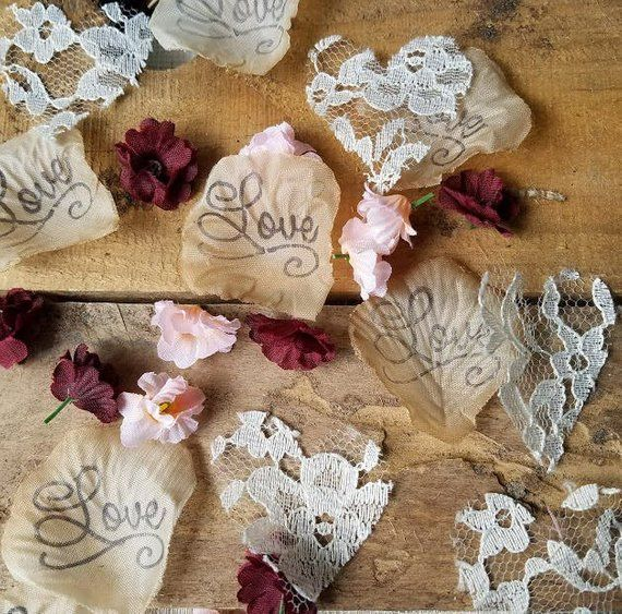 Table Runner Confetti,Lace and Burlap Petals Table scatter Decorations,Wedding Sweetheart Table Decorations Flower Confetti
