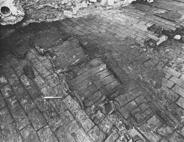 The Great Fire of London of 1666 has left an indelible mark on many of the City of London's archaeological sites. Here a cellar floor from a site close to the start of the fire in Monument revealed the remains of several carbonised barrels, burnt from when the Great Fire swept through the area.