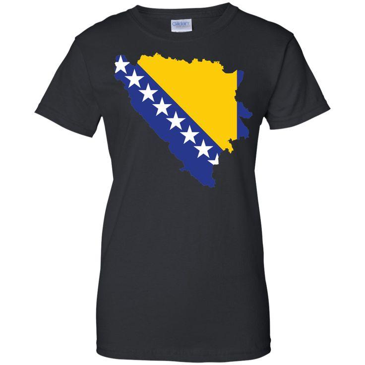 Bosnia flag -01 Ladies Custom 100% Cotton T-Shirt