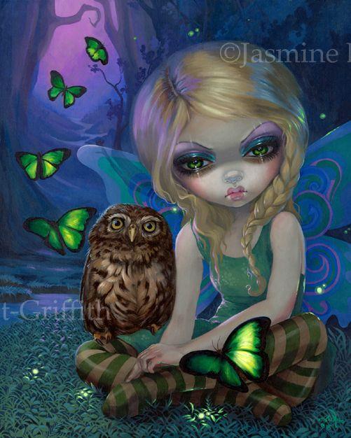 Summer Fairy by Jasmine Becket-Griffith - the Four Seasons - fairy artwork featuring Summer the Owl Fairy - firefly art - big eye new contemporary art