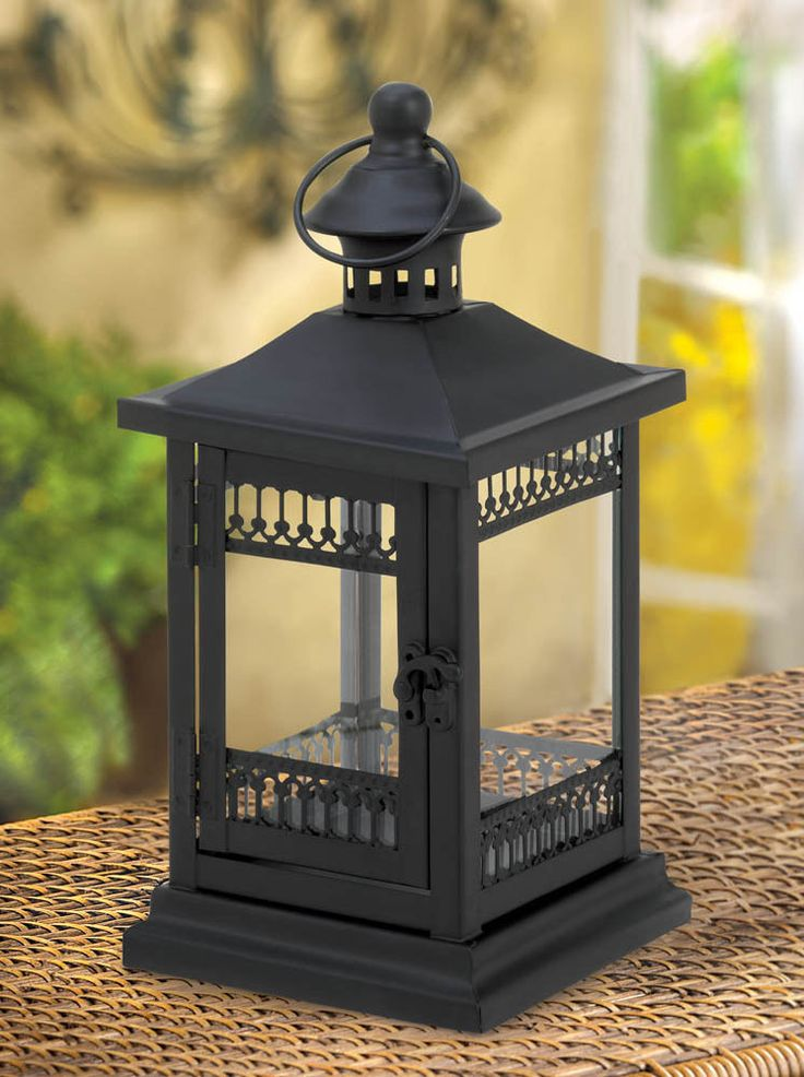 """black filigree lace 10"""" tall Candle holder Lantern Lamp light outdoor terrace #GENERIC #FrenchCountry #candlelamp"""
