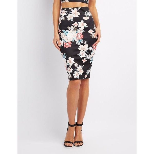 Charlotte Russe Floral Bodycon Midi Skirt ($20) ❤ liked on Polyvore featuring skirts, black multi, ponte pencil skirt, stretch skirts, stretchy pencil skirt, knee length pencil skirt and floral print midi skirt