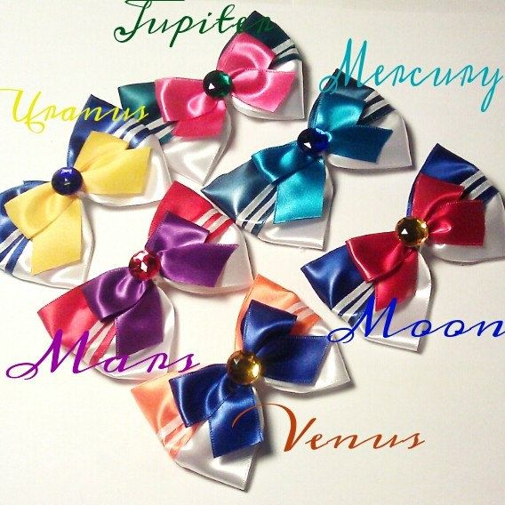 Sailor Moon 6 Sailor Scouts Hair Bows by Malabows on Etsy, $15.00