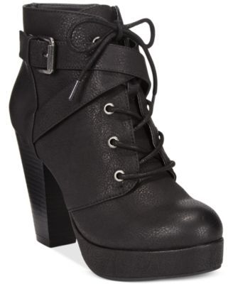 Material Girl Rhodes Lace-Up Platform Booties, Only at Macy's