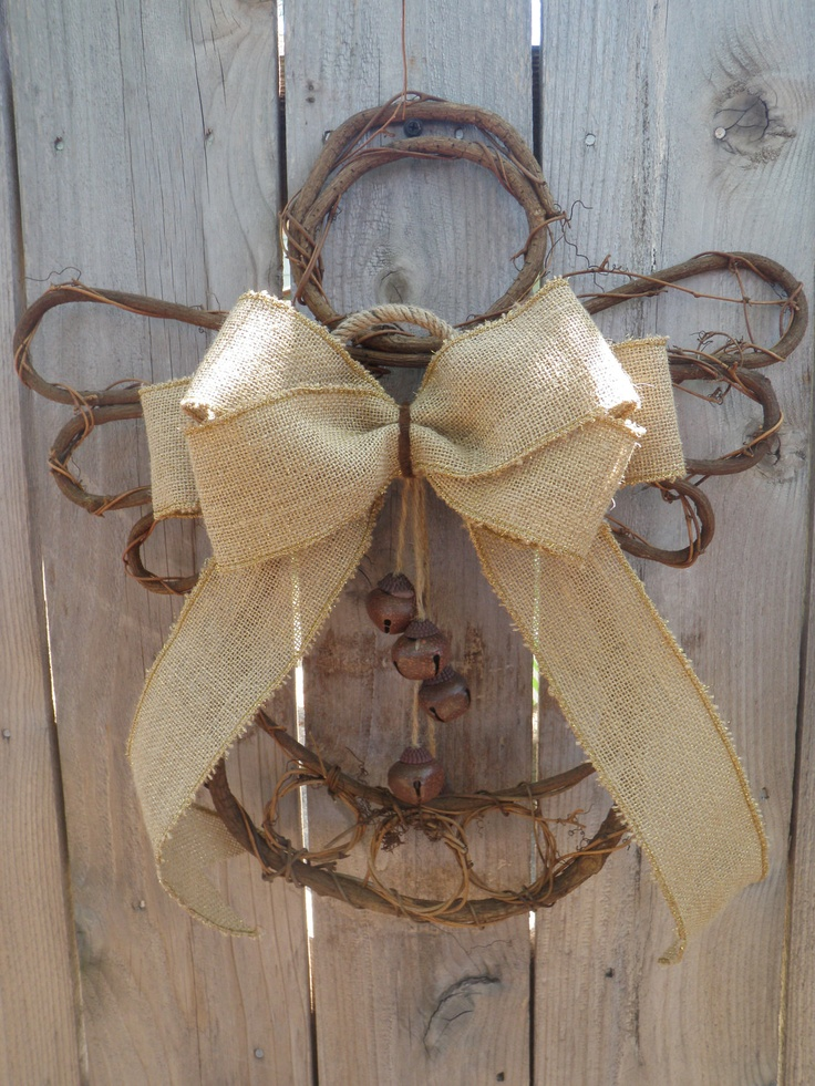 Country Angel Burlap Wall Hanging- Rustic Bells Willow Branch Wreath Door…