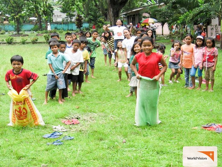#Children enjoy the sack race during the Birthday Bounceback! The event is a #celebration for children to experience their #birthdays, as they don't usually experience them at home. Photo by Christine Tenefrancia, #WorldVision