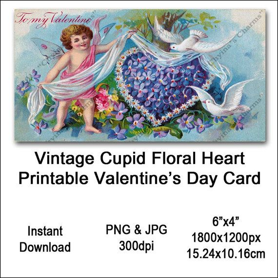 Vintage Cupid Valentines Card Victorian Printable Flower Heart Cherub Sash Clipart Card Instant Download Digital Clip Art Image Vin0017