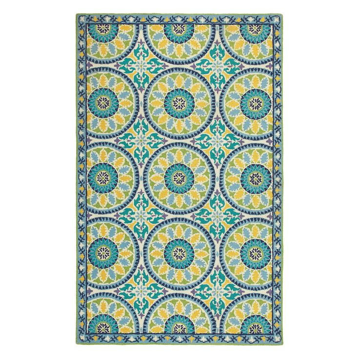 Lisette Rug In Cerulean Blue From Company C Bold Medallions Varied Hues Of