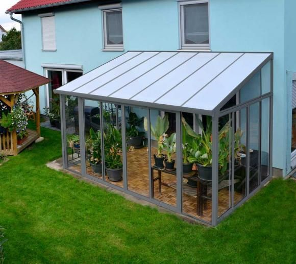 The SanRemo Grey Veranda Is A Contemporary Design That Employs Modern  Maintenance Free Materials Such As Polycarbonate Roof Panels And A Powder  Coated Frame ...