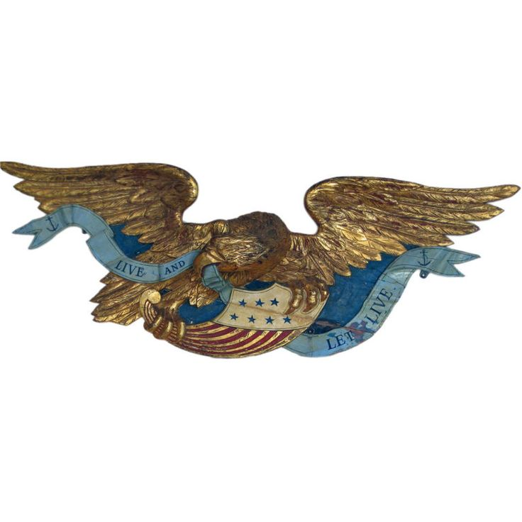Bellamy Style Carved Eagle, Late 19th Century, large carved pine and gold gilt Eagle having a painted banner reading Live and Let Live. Massachusetts probably Boston.:
