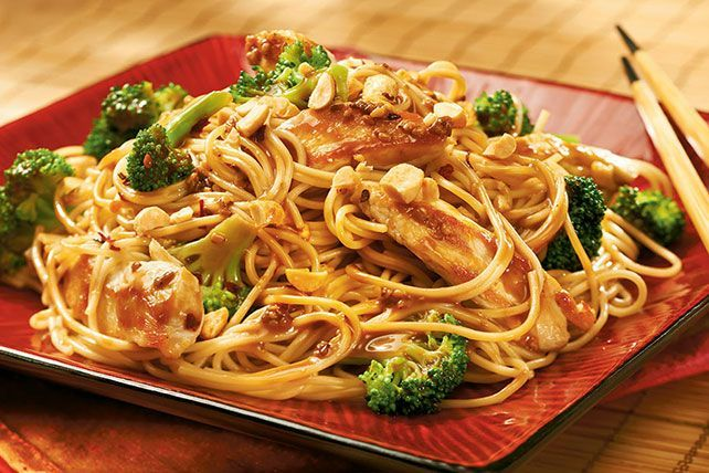 Savory chicken pasta with tantalizing aromas and enticing Asian flavors is ready to be served in just 25 minutes. Speedy, right?