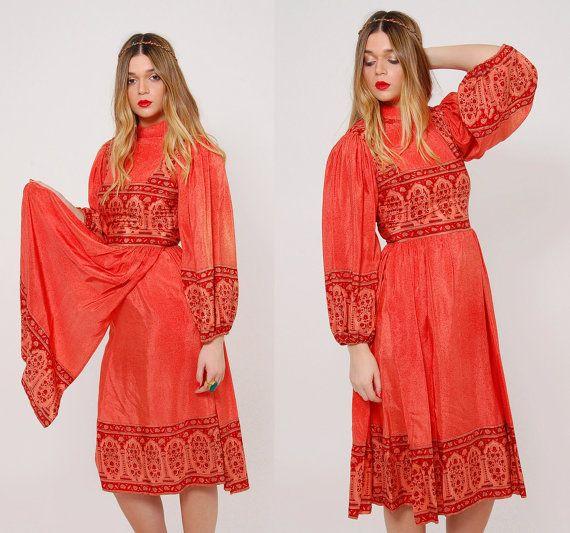 Vintage 70s INDIAN SILK Dress Saffron Ethnic Dress Boho SCARF Dress Middle Eastern Dress