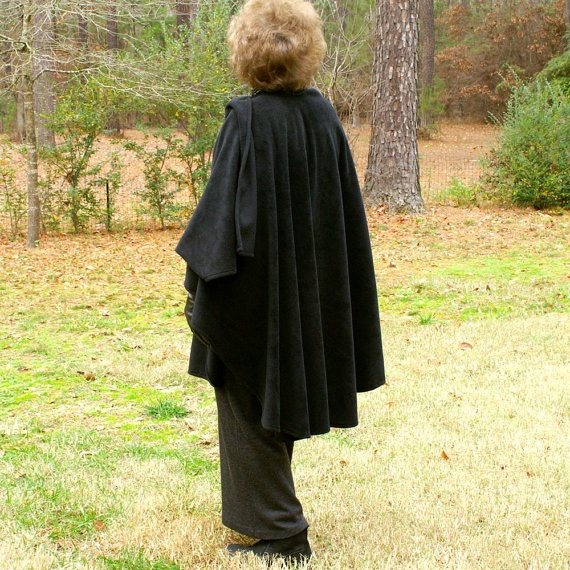 Black Shawl or Wrap in Anti Pill FleeceOne Size Fits by youngbear, $32.00