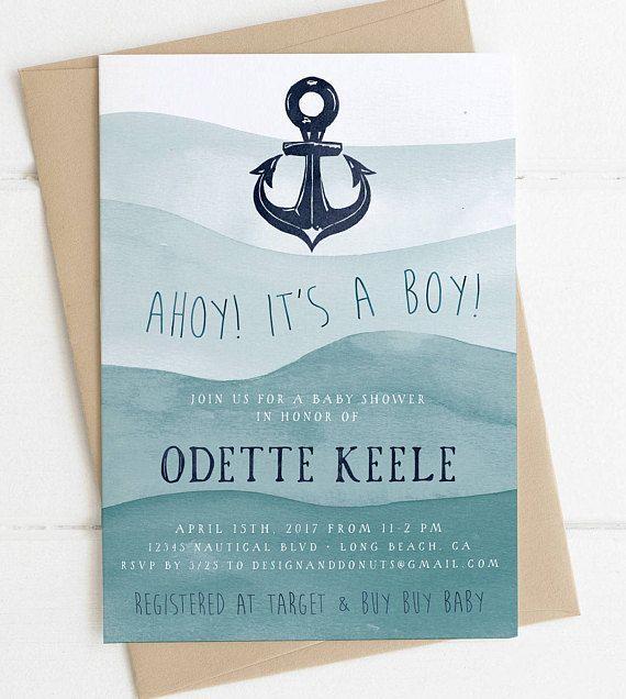 Ahoy! It's a Boy Baby Shower Invitation, Sailor, Anchor, Navy Blue, Nautical Invitation, Printable, Digital Invites [515]