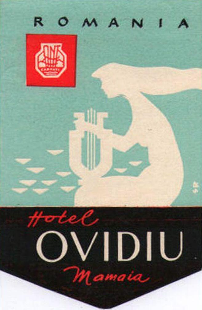 Vintage Luggage Label, ca. 1950, Hotel Ovidio Mamaia, Romania.
