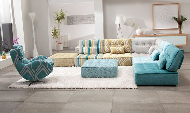 Alice Modular Fabric Sofa. Modular Sofa can be combined for corners or sofas ideal if you have a quirky space or indeed want a retro finish sofa.