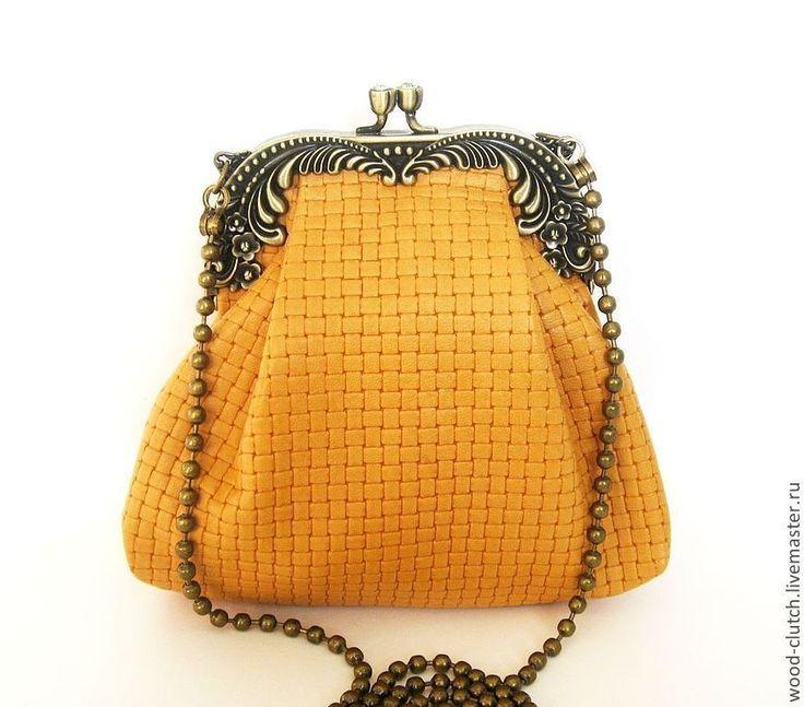 """Купить Сумочка из кожи """"Плетеная""""(сумка коричневая ,сумка оранжевая,кожаная) - сумка, сумка из натуральной кожи"""