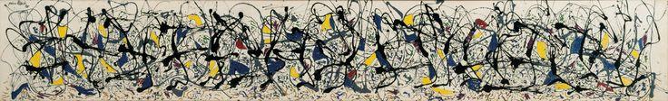 Summertime: Number 9A ~ 1948 ~ Olieverf, emailverf en huisverf op doek ~ 84,8 x 555 cm. ~ Tate Gallery, Londen ~ Enchanted Forest ~ 1947 ~ Olieverf op doek ~ 221,3 x 114,6 cm. ~ Solomon R. Guggenheim Museum, Peggy Guggenheim Collection, Venetië ~ © 2016 Pollock-Krasner Foundation / Artists Rights Society (ARS), New York