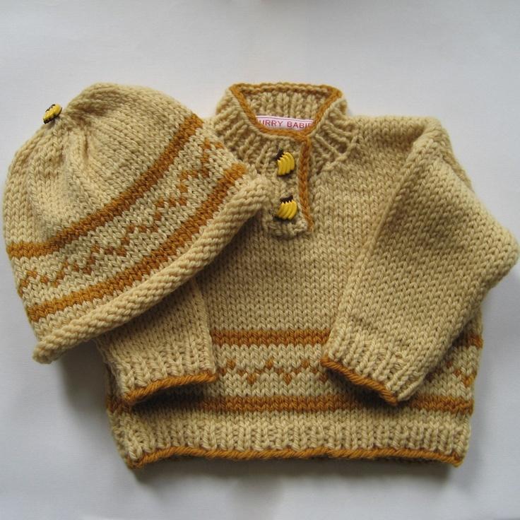 Banana Cream Pie #Knit #Baby #Sweater and #Hat