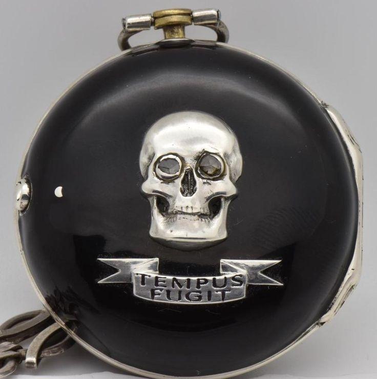 Museum Silver Enamel Verge Fusee Pair Case Skull Memento Mori Pocket Watch C1730   eBay