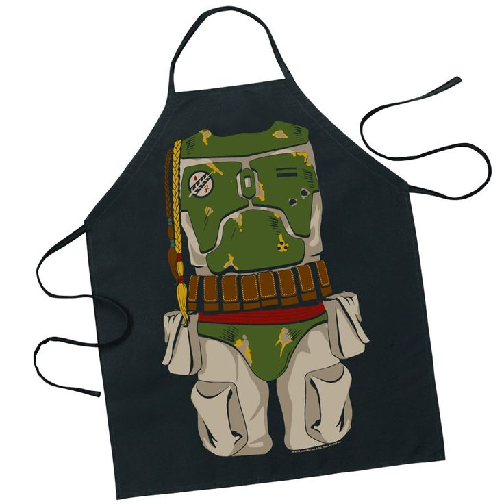 Officially licensed character apron made of 100% cotton. Features Darth Vader, Boba Fett, C3PO, Luke Skywalker X-Wing Pilot,and Princess Leia Metal Bikini.