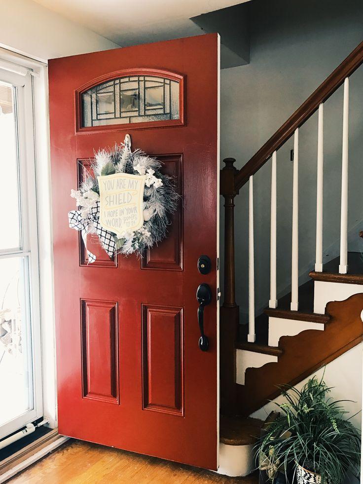 Red front door!  #cottage #cottagelife #cottagehome #maryland #marylandliving #marylanddwelling #boho #bohofarmhouse #farmhouse #farmhousecottage #rustic #americana #southwestern #betterhomesandgardens #targetstyle #mybhg #modernfarmhouse #farmhousedecor #farmhousestyle #diy