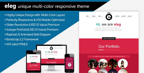 ELEG - Unique Multi-Color Responsive HTML5 Theme - ThemeForest Item for Sale