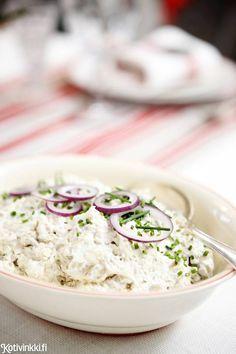 Sienisalaatti - Traditional Finnish Mushroom salad:  - salted mushrooms  - onion  - double cream