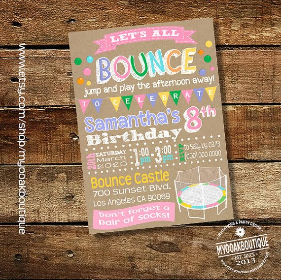 Trampoline party birthday invitation Bounce by myooakboutique