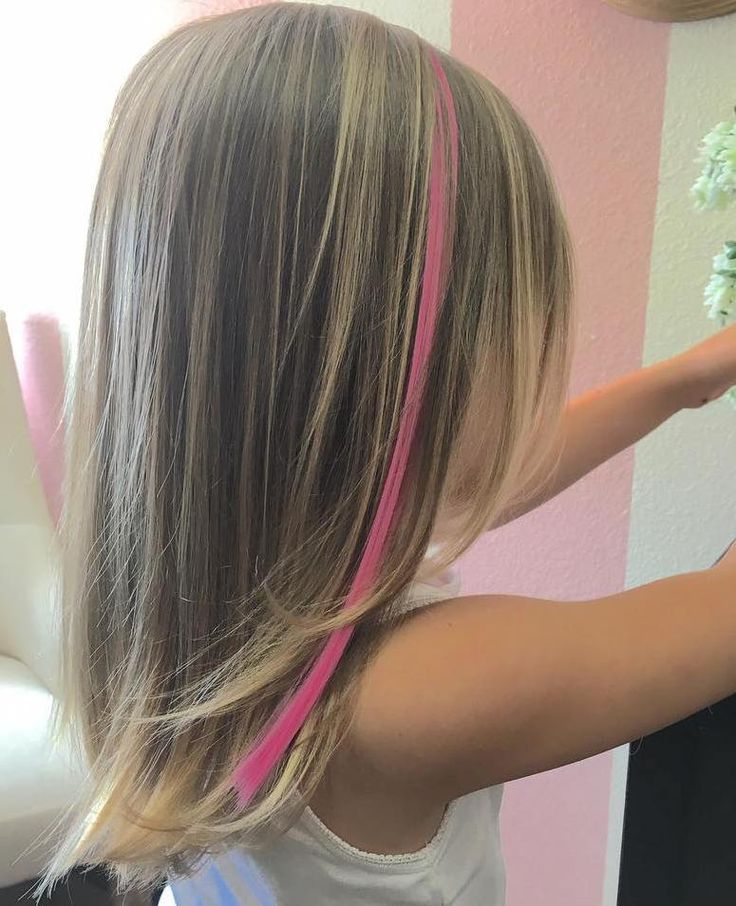 Medium Layered Girls' Haircut - pink stripe!