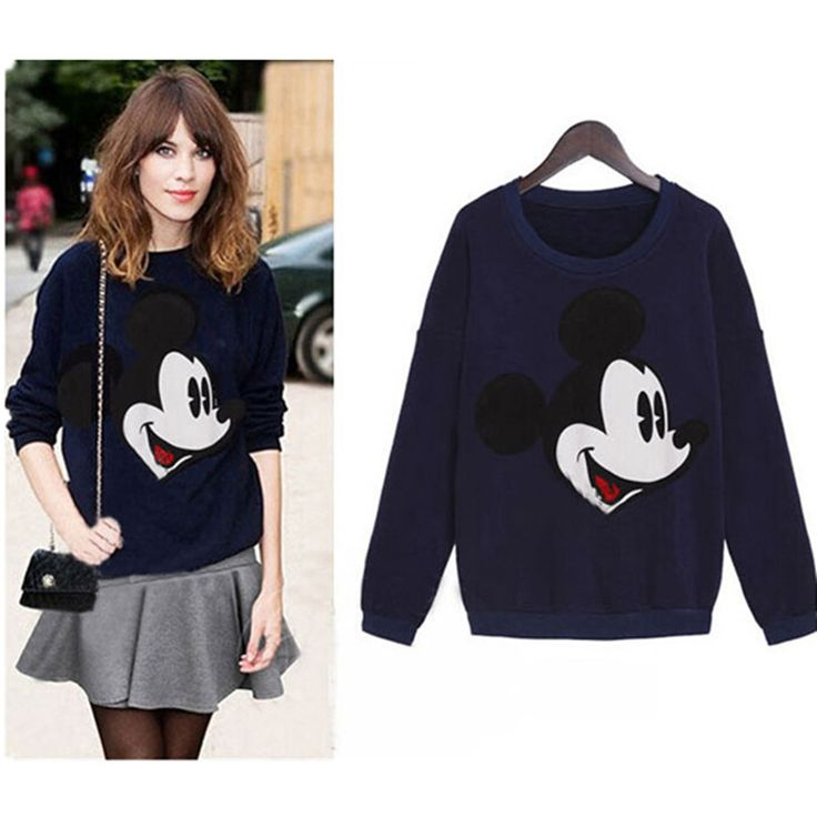 Women Hipster Hoodies Cartoon Mickey Sweatshirt Blue/Gray Tracksuit Printed Mouse Kawaii College Harajuku - Top Kawaii - Best Online Kawaii Shop Top Kawaii - Best Online Kawaii Shop