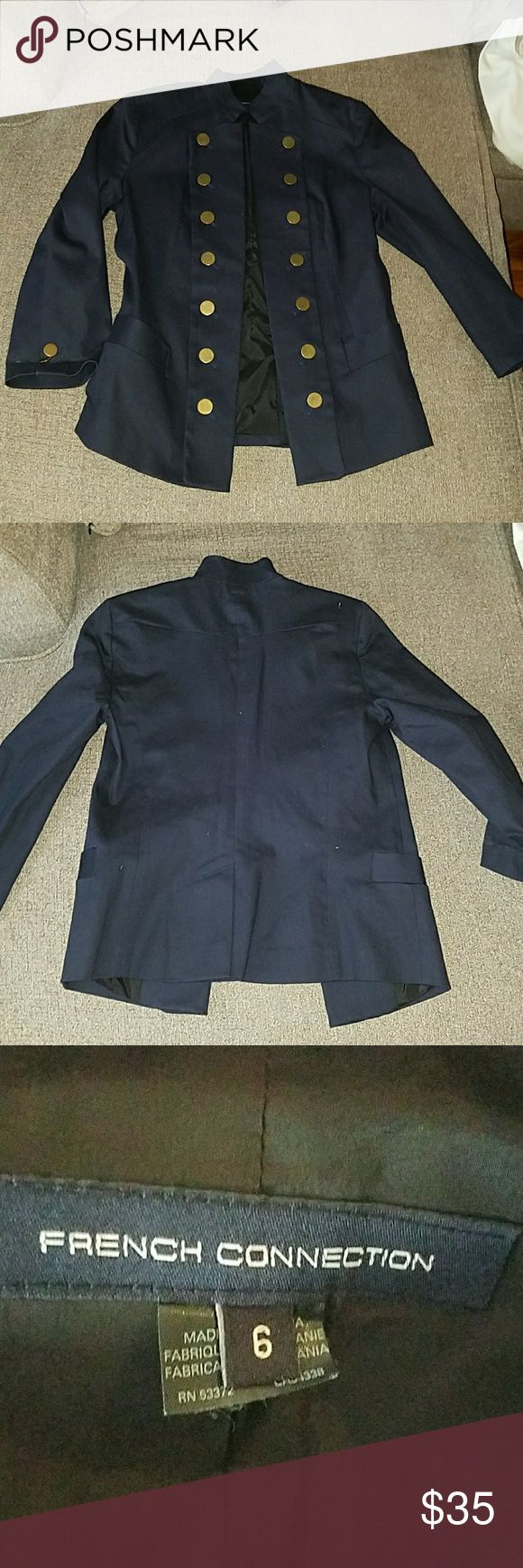 French Connection military jacket Size 6 Navy blue Lined Bronze buttons  Thick material  Free beauty gift with every purchase Jackets & Coats Blazers