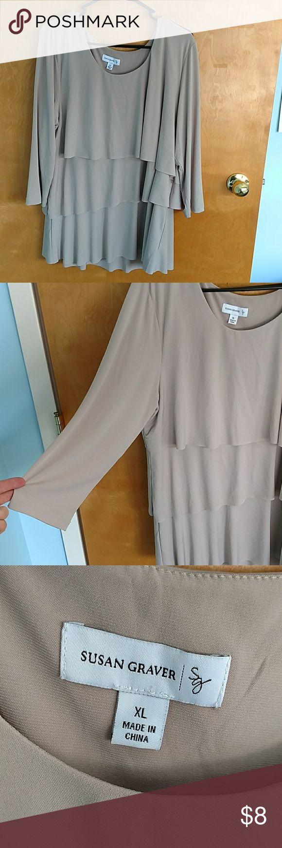 Susan Graver Women's Blouse Susan Graver Women's Blouse, tan, XL, 3/4 sleeves Susan Graver Tops Blouses