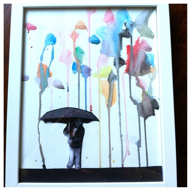 Rainy Day pictures created with watercolors and a picture of child holding an umbrella. Reggio Preschool