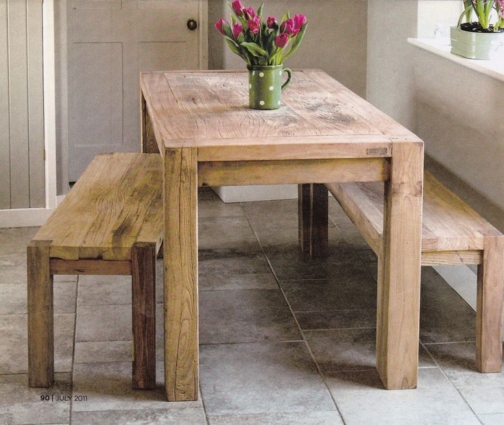 Rustic Kitchen Table With Benches That Can Slide