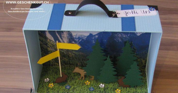 reisekoffer koffer mit berge berglandschaft wanderferien wanderausflug feriengutschein. Black Bedroom Furniture Sets. Home Design Ideas